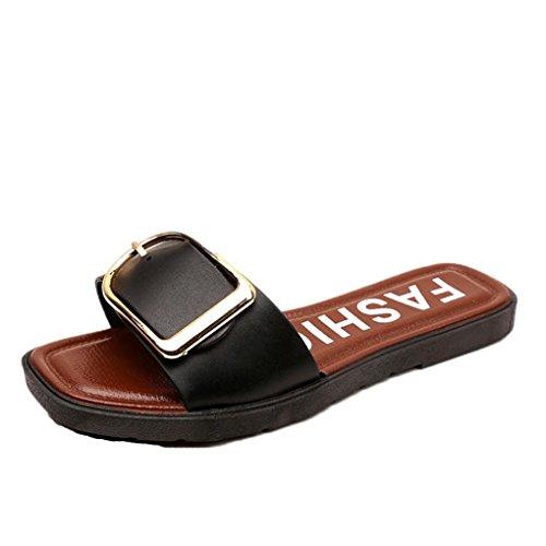 Transer® Damen Flach Slipper PVC+Kunststoff Beige Schwarz Monk-strap Hausschuhe mit Knopf Gr.35-40 Schwarz