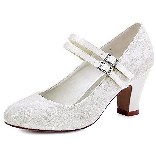 Chaussures Ivoire de Bout Pompes Talon Fermé Jane Mariage Femmes Mary Soirée Lace Toe Elegantpark Mid 6wPvxq85
