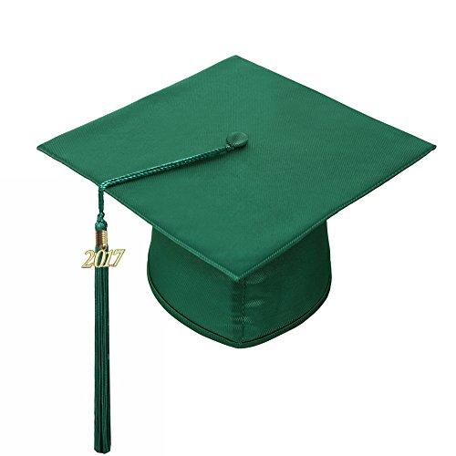 lescapsgown Unisex Adult Graduation Cap with Tassel 2019-Shiny Cap(Forest Green)
