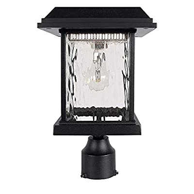 "GAMA SONIC Aspen Solar Post Light, Outdoor Solar Powered LED Light, 3"" Post Mount, Black GS-8F"