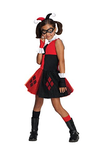 DC Super Villain Collection Harley Quinn Girl's Costume with Tutu Dress, Small -