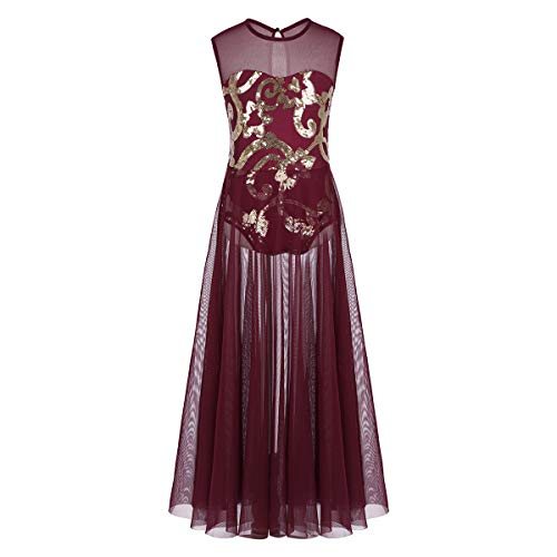 Yagp Contemporary Costumes - ranrann Kids Girls Floral Sequins Spirit