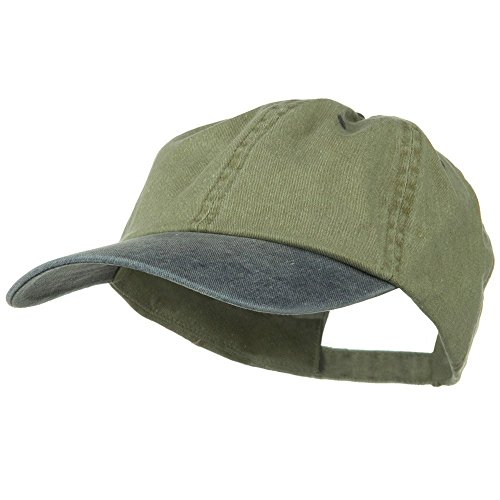 (New Big Size Washed Cotton Ball Cap - Khaki Navy OSFM)