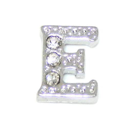 """Jewelry Monster """"Letter 'E' w/ Crystals"""" for Floating Charm Lockets 0002-E2"""