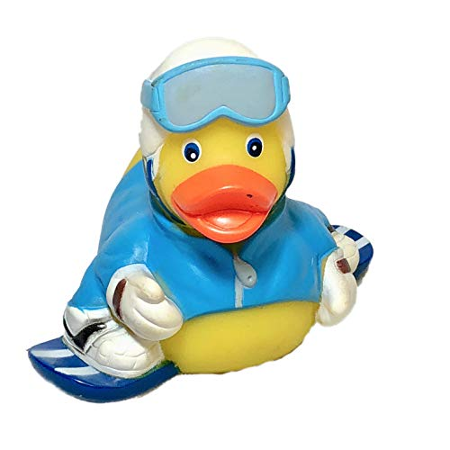 Ad Line Snowboard Rubber Duck Bath Toy | Sealed Mold Free | Child Safe ()
