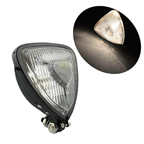 Motorcycle Black Housing Clear Lens Old School 12V Triangle Headlight Spot Light Custom for Harley Bobber Chopper Cruisers Mini Thin Section Retro (Black Clear Lens) ()