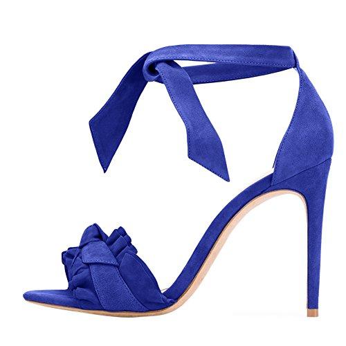 Damen Sandalen Open Toe High-Heels Stiletto Knöchelriemchen Blau