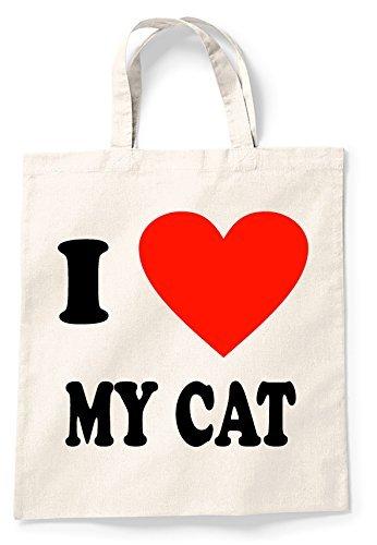 Amazon.com: I Love My Cat Canvas bolsa Bag Bolsas De La ...