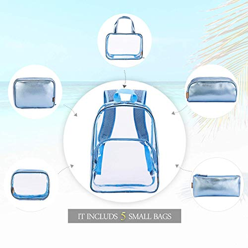 6 Travel amp; Makeup School Daypack Clear Blue Luggage Casual Portable Bag Backpack Quart Bookbag Toiletry Rose Backpack with Case in 1 Shoulder Gold Transparent Bag Cosmetic Rucksack Organiser Outdoor PVC RKqrg0RwA