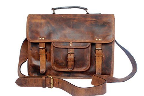 15 Inch Leather Vintage Rustic Crossbody Messenger Courier Satchel Bag Gift Men Women ~ Business Work Briefcase Carry Laptop Computer Book Handmade Ru…