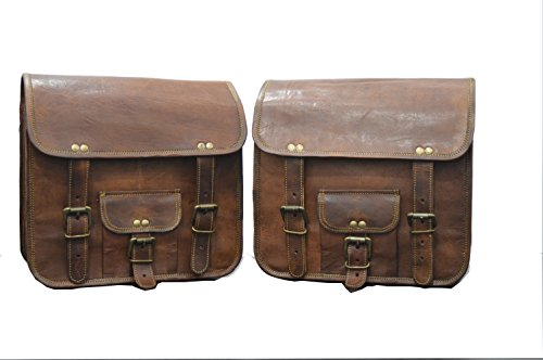 Handmade Bag Wala Saddle Bags Motorcycle Two Side Pouch Brown Leather Pouch Saddle Panniers (2 Bags) by Handmade Bag Wala