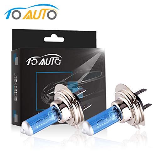 - TOAUTO H7 55W 12V Halogen Headlight Bulbs Car HeadLamp Fog Light Super Bright Xenon White (pack of 2)