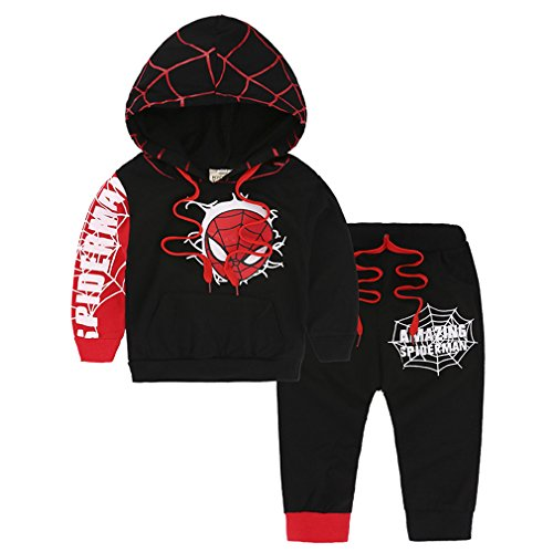 (2PCS Toddler Kids Baby Boys Spiderman Coat Top+Pants Set Kids Clothes Outfits (Black, 3)