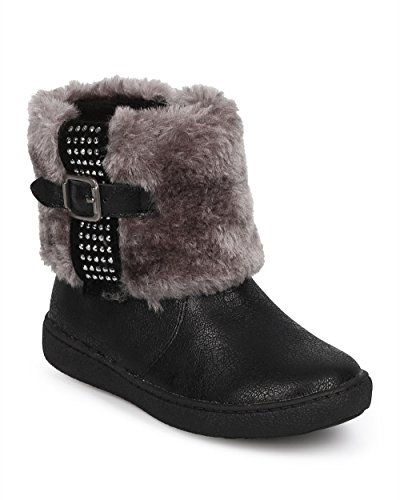 JELLY BEANS Metallic Fur Rhinestone Zip Winter Boot (Toddler/Little Girl) DC67 - Black (Size: Toddler 10) by JELLYBEANS (Image #5)
