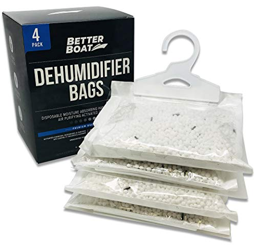 4 Pack Boat Dehumidifier Moisture Absorber Hanging Bags and Charcoal Deodorizer Remove Damp Musty Mold Smell | Basement Closet Home RV or Boating (Boat Dehumidifier)
