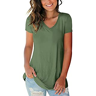 Women Tops Plus Size Clothing Short Sleeve V Neck Tshirts Loose Fitting Green XXL