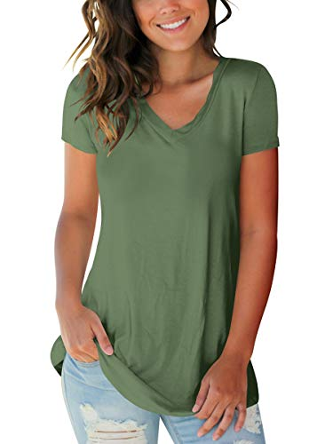 Womens Shirts Casual Short Sleeve V Neck Summer Tops Basic Tees Green M