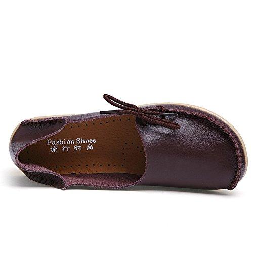 FCKEE Damen Leder Loafers Schuhe Slip-On Schuh Krankenschwester Schuhe Casual Mokassin Driving Schuhe Flache Hausschuhe Braun