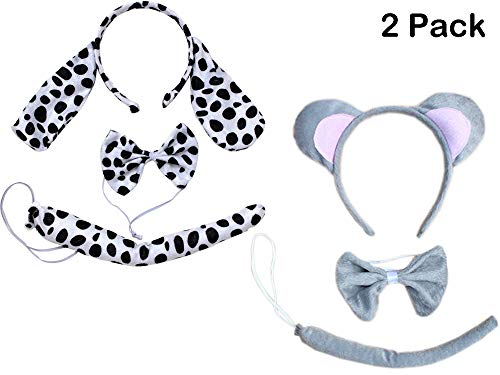 Kids Animals Dalmatian Mouse Wolf Tiger Antlers Party Costume Christmas Headband (Dappled Dalmatian + Grey Mouse (2PCs)) -