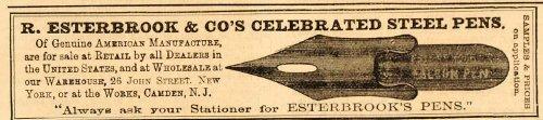 1876 Vintage Ad Esterbrook Steel Fountain Pen Antique - Original Print Ad