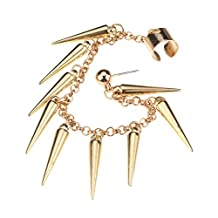 Outstanding Punk Style Golden Coloured Jewellery Set Kit Including Earring / Ear Stud, Chain With Long Rivets / Spikes / Pyramids Tassels And Cuff / Clip By VAGA®
