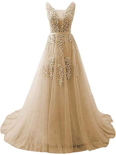Huifany Formal Long Sweep Train Prom Gowns Beaded V Neck Evening Dresses -
