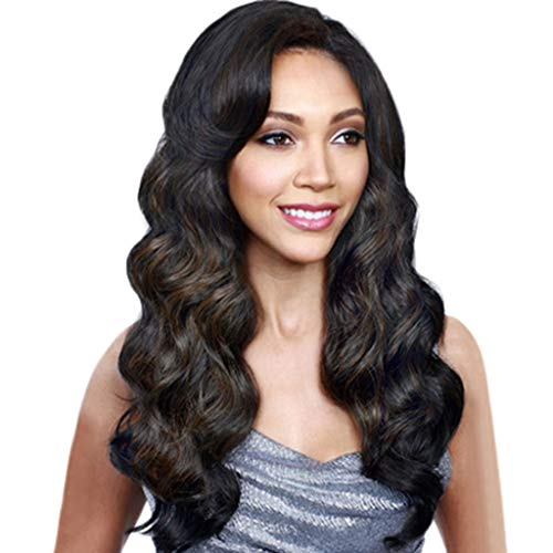 Baulody Black Synthetic Wigs for women - Natural Looking Long Wavy Right Side Parting NONE Lace Heat Resistant Replacement Wig Full Machine Made 25.5 inches (Black) ()