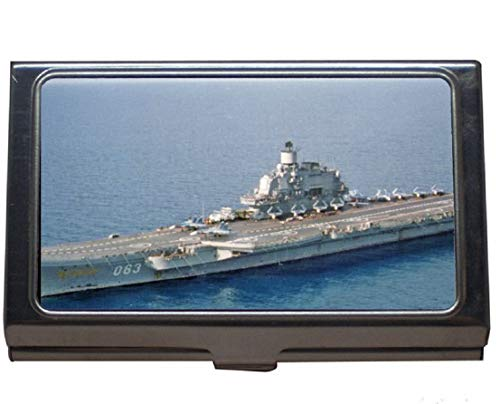 Professional Business Card Holder,Aircraft Carrier Navy Russian Aircraft Carrier Admiral Kuznetsov Warship Russia Business Card Case for Men and Women (Stainless Steel)