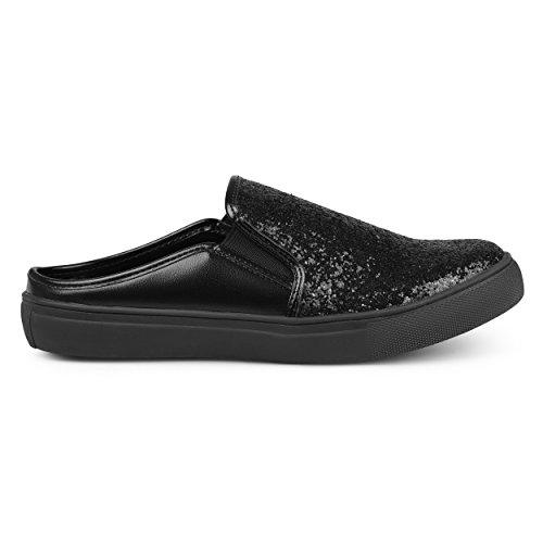 Brinley Co Kvinna Glitter Konstläder Glid Sneakers Svart