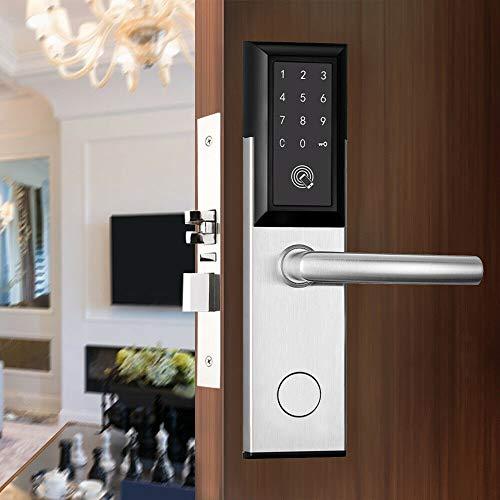 Smart Electronic Door Lock,Smart Digital Electronic Door Lock Smart Home Antitheft Security Keyless Bluetooth Fingerprint Touch Screen Digital Code Keypad Password Silver