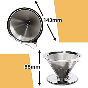 Pour Over Coffee Dripper, Yutuoo Slow Drip Coffee Cone Filter Reusable Paperless Stainless Steel Ultra Fine Micro Mesh Filter Single Layer Coffee Maker 1-4 Cup (Color: Silver)