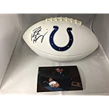 Peyton Manning Autographed Signed Indianapolis Colts Logo Football Side Manning #ed Hologram W/Photo From Signing