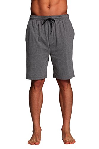 CYZ Men's Sleep Shorts - 100% Cotton Knit Sleep Shorts & Lounge Wear-Charcoal-XL