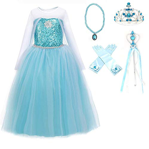 Ice Queen Elsa Blue Snowflake Jewel Costume Dress Gift Set (Blue, 4-5)
