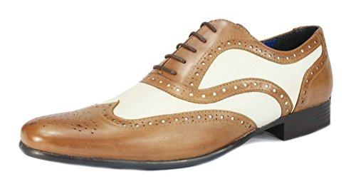 Red Tape Gatsby-Schuhe, Spitz, Brogue-Herrenschuhe, Gangster-Schuhe Tan / White