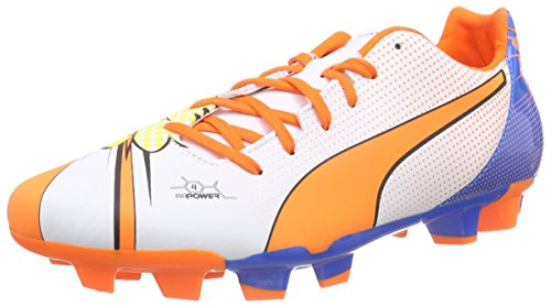Puma evoPOWER 4.2 POP FG - zapatillas de fútbol de material sintético hombre blanco - Weiß (white-orange clown fish-electric blue lemonade 01)