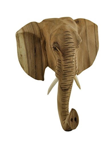 Hand Carved Wooden Elephant Head Wall - Wooden Elephant Carved