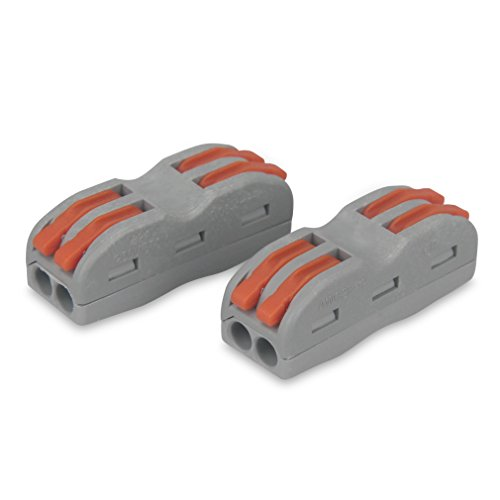 eMylo Quick Compact Splice Wire Conductors Cable Clamp Terminal Block Spring Connector for Light Wire Connecting 2 Packs