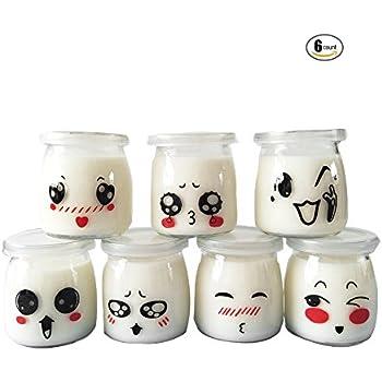Sunormi 200ml Emoticon Design Glass Pudding Yogurt Jars With Lids 6oz,6Pcs