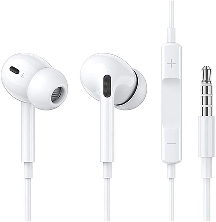 [2 Pack] 3.5mm Earbuds/Headphones/Earphones with Microphone in-Ear Earbuds Noise Isolation Headsets Heavy Bass Earphones Compatible iPhone iPad iPod S10 Android All 3.5 mm Audio Devices
