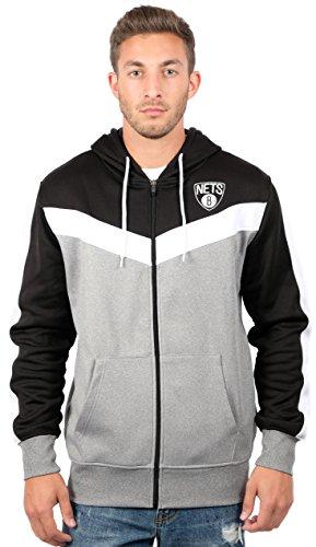 Ultra Game Men's NBA Soft Fleece Full Zip Jacket Hoodie, Brooklyn Nets, Black, Medium (Nba Brooklyn Jersey Nets)