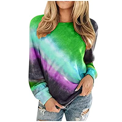 Women's Crewneck Colorblock Tie Dye Shirts Long Sleeve Pullover Tops T Shirts Blouse Plus Size. S-5XL at Women's Clothing store