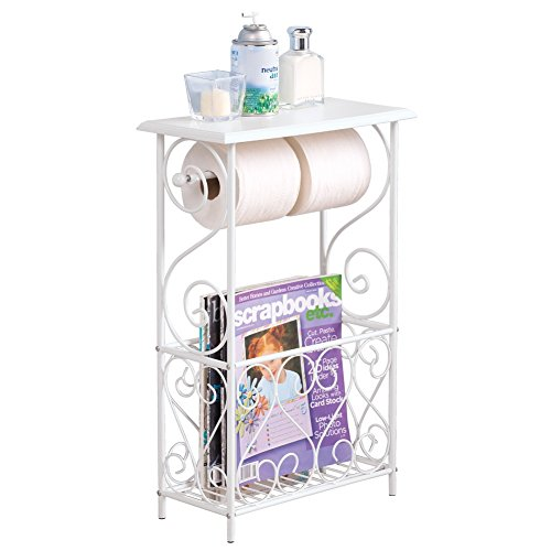Collections Etc White Toilet Paper and Magazine Holder with Scrolling Design - Decorative Bathroom Table, White
