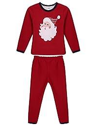 Arshiner Christmas Santa Sleepwear Pajamas Set Cotton Pjs For Toddler/Kids 3-10 Years
