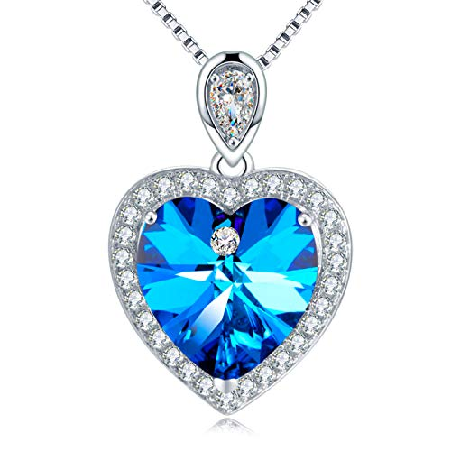 GAEA H Blue Heart Crystal Pendant Necklace,with Swarovski Jewelry for Christmas Birthday Gifts ()