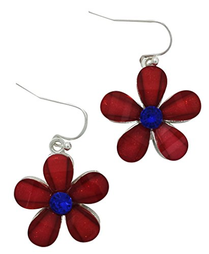 Crystal Patriotic Star - Fashion Jewelry Silver Plated Red Patriotic Crystal Five Star Earrings with Blue Crystal Center, Hypo Allergeni