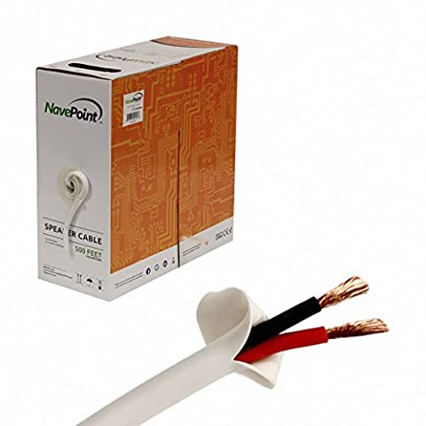 NavePoint 500ft In Wall Audio Speaker Cable Wire CL2 16/2 AWG Gauge 2 Conductor Bulk White - 2 Conductor Audio