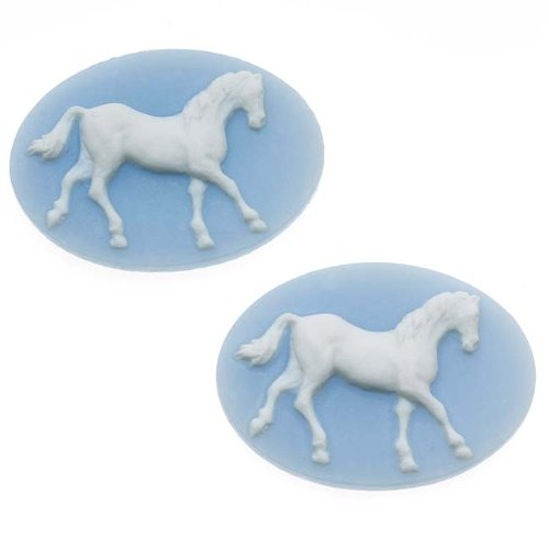 Beadaholique Vintage Style Lucite Oval Cameo Blue With White Horse 25 x 18mm (2) -