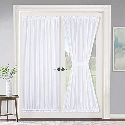 (NICETOWN Curtain for French Front Door, Door Window Curtain Panel in White, Elegant Solid Voile Glass Door Curtain Panel, One Piece with Bonus Tieback, 55