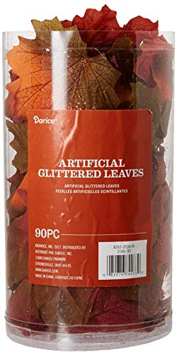 Darice 3100701 90Piece Maple Leaf Décor with Copper Glitter Accents in a Canister